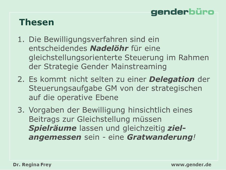 Dr. Regina Freywww.gender.de Thesen 1.Die Bewilligungsverfahren sind ein entscheidendes Nadelöhr für eine gleichstellungsorienterte Steuerung im Rahme