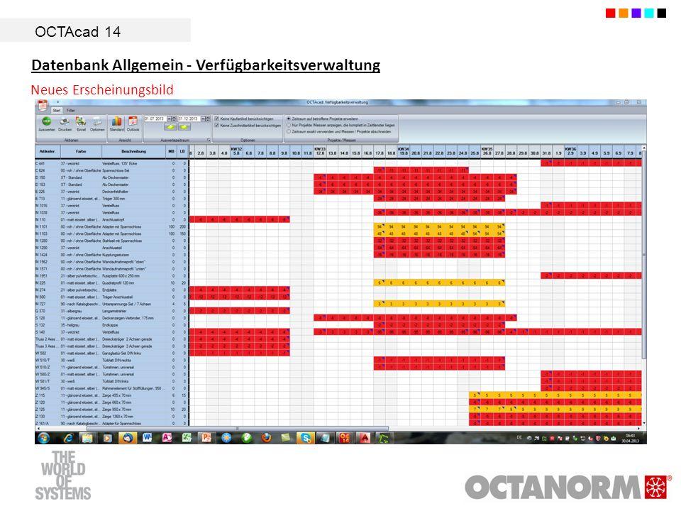 OCTAcad 14 Datenbank Allgemein - Verfügbarkeitsverwaltung Neues Erscheinungsbild