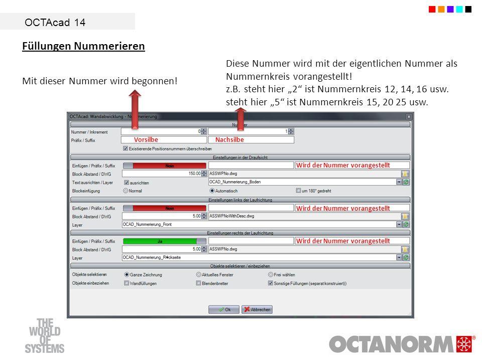 OCTAcad 14 Füllungen Nummerieren Mit dieser Nummer wird begonnen! Diese Nummer wird mit der eigentlichen Nummer als Nummernkreis vorangestellt! z.B. s