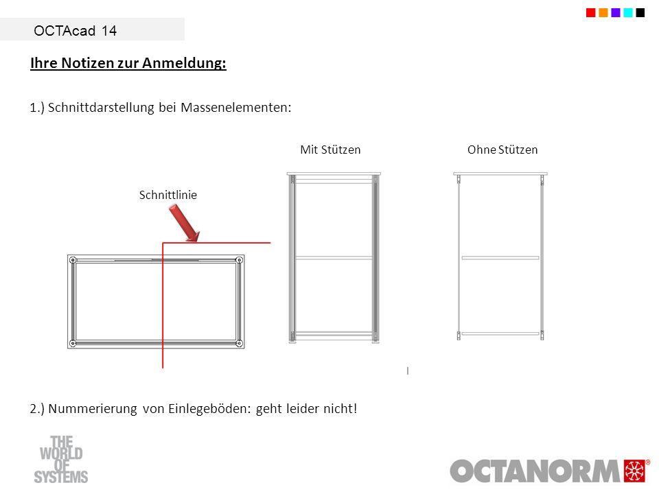 OCTAcad 14 Ihre Notizen zur Anmeldung: 1.) Schnittdarstellung bei Massenelementen: Schnittlinie Mit StützenOhne Stützen 2.) Nummerierung von Einlegebö