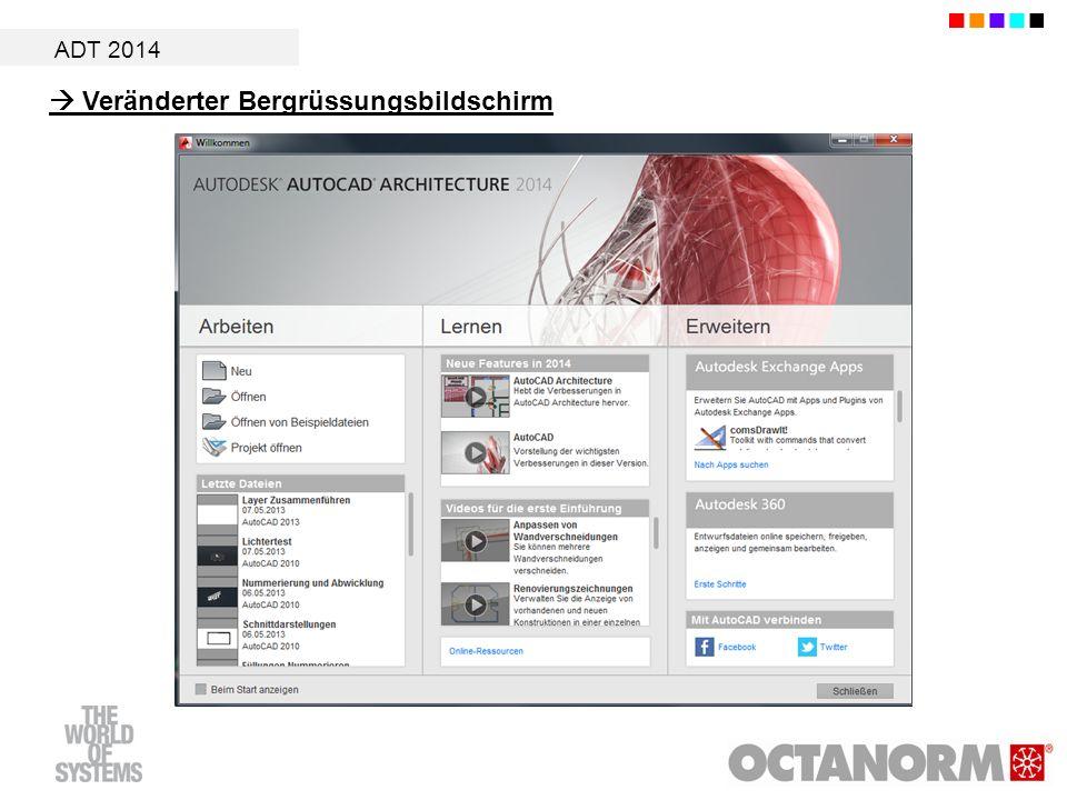 ADT 2014 Veränderter Bergrüssungsbildschirm