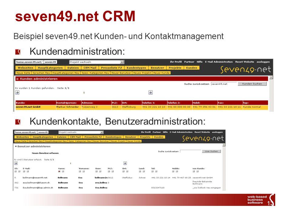 13 seven49.net CRM Kundenadministration: Kundenkontakte, Benutzeradministration: Beispiel seven49.net Kunden- und Kontaktmanagement