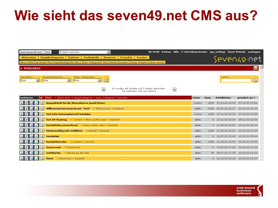 5 Wie sieht das seven49.net CMS aus?