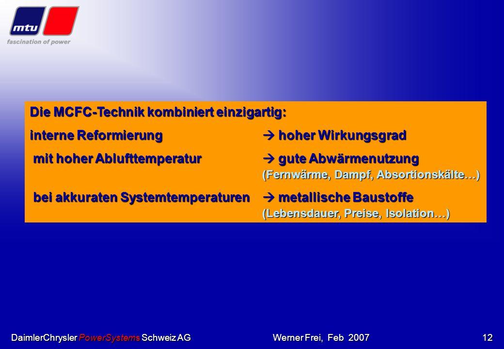 DaimlerChrysler PowerSystems Schweiz AGWerner Frei, Feb 200711 HochtemperaturBrennsstoffzellen Phosforsaure BZ Membran BZ H2H2H2H2 O2O2O2O2 H2OH2OH2OH