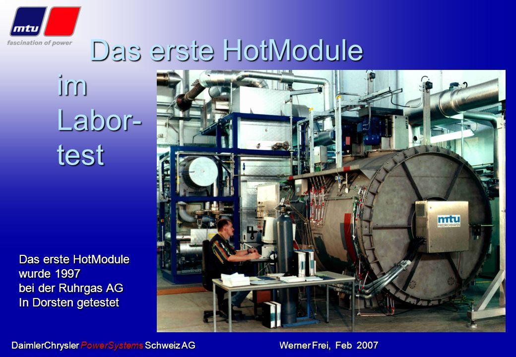 DaimlerChrysler PowerSystems Schweiz AGWerner Frei, Feb 200716 Karbonat-Brennstoffzelle Der Zellstapel Der so genannte Stack besteht aus 300 Zellen. E