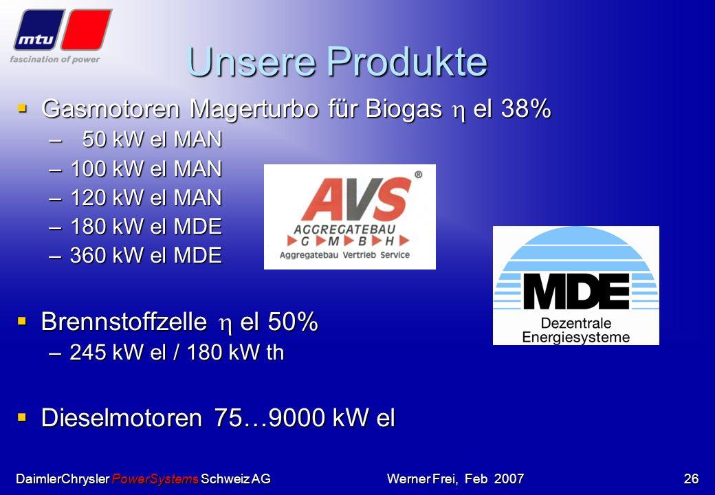 DaimlerChrysler PowerSystems Schweiz AGWerner Frei, Feb 200725 Systemansatz BIOVISION BiogasStrom High Value Food HotModule Mineral- Dünger Gärrestver