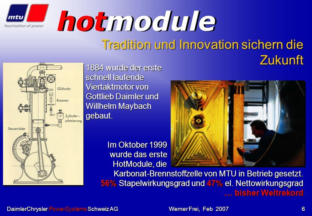 DaimlerChrysler PowerSystems Schweiz AGWerner Frei, Feb 20075 DaimlerChrysler PowerSystems Schweiz AG unsere Produkte Gasmotoren: Gasmotoren: BR 40011