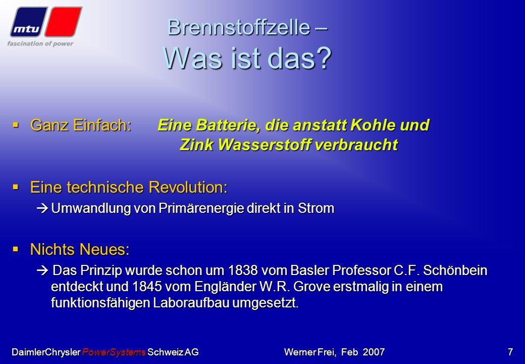 DaimlerChrysler PowerSystems Schweiz AGWerner Frei, Feb 20076 Im Oktober 1999. wurde das erste. HotModule, die. Karbonat-Brennstoffzelle von MTU in Be