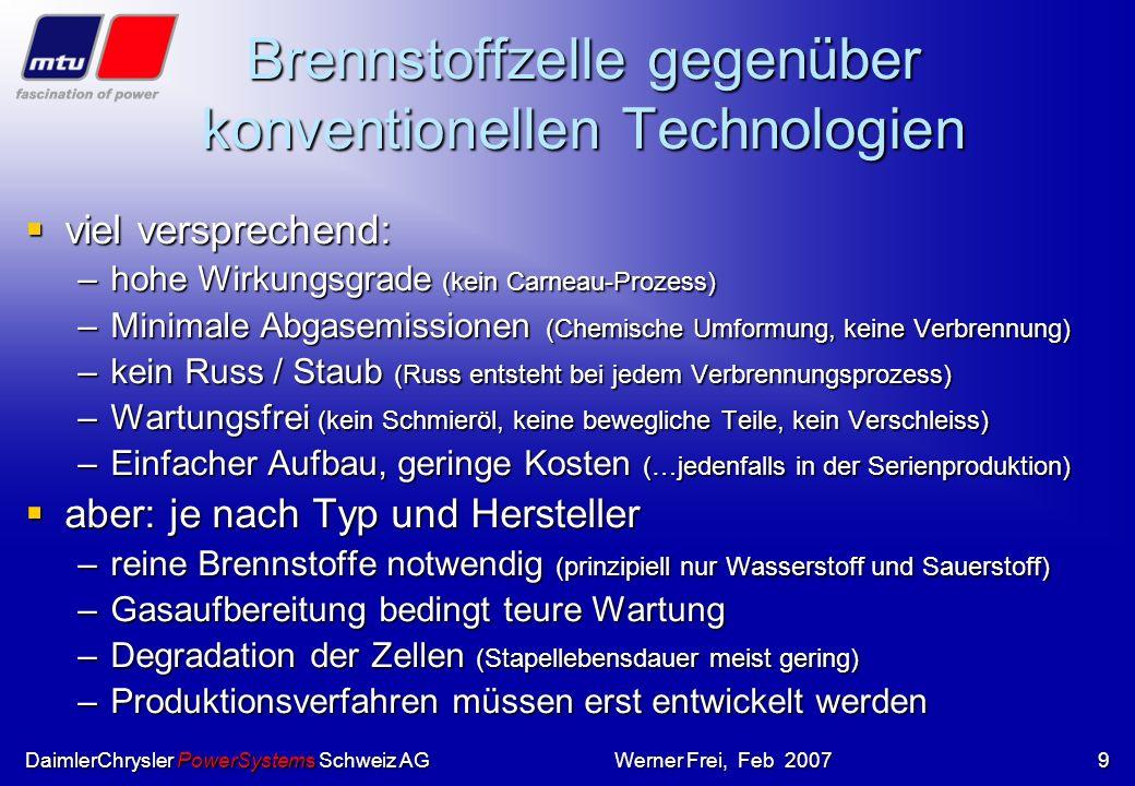 DaimlerChrysler PowerSystems Schweiz AGWerner Frei, Feb 2007 Wasserstoffmoleküle treffen auf die Anode und werden zerlegt in atomaren Wasserstoff. Hie