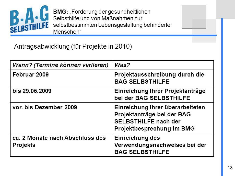 13 BMG: Förderung der gesundheitlichen Selbsthilfe und von Maßnahmen zur selbstbestimmten Lebensgestaltung behinderter Menschen Antragsabwicklung (für