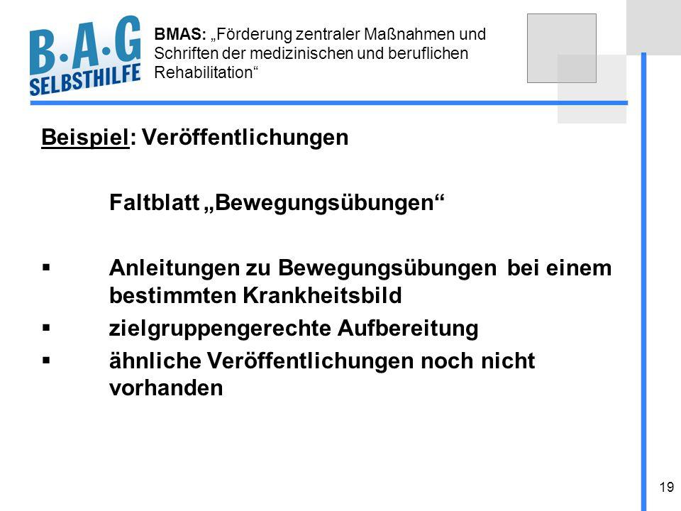 19 BMAS: Förderung zentraler Maßnahmen und Schriften der medizinischen und beruflichen Rehabilitation Beispiel: Veröffentlichungen Faltblatt Bewegungs