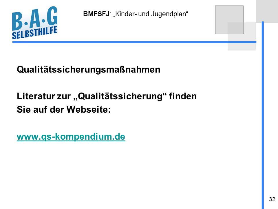32 BMFSFJ: Kinder- und Jugendplan Qualitätssicherungsmaßnahmen Literatur zur Qualitätssicherung finden Sie auf der Webseite: www.qs-kompendium.de