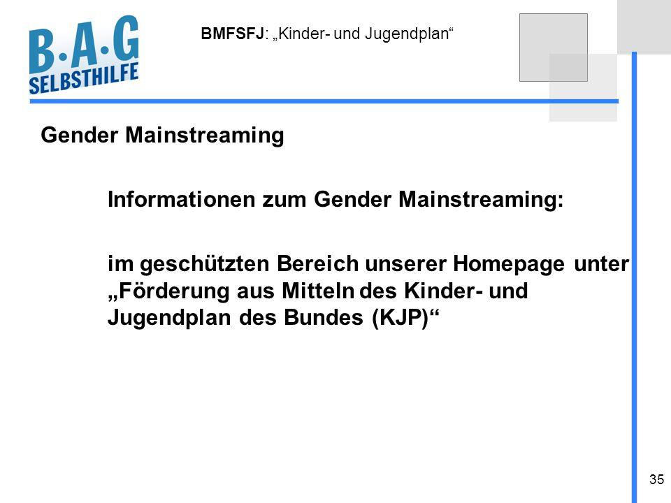35 BMFSFJ: Kinder- und Jugendplan Gender Mainstreaming Informationen zum Gender Mainstreaming: im geschützten Bereich unserer Homepage unter Förderung
