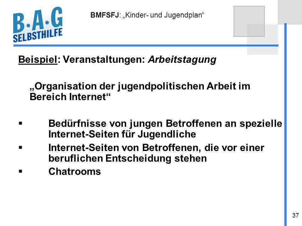 37 BMFSFJ: Kinder- und Jugendplan Beispiel: Veranstaltungen: Arbeitstagung Organisation der jugendpolitischen Arbeit im Bereich Internet Bedürfnisse v