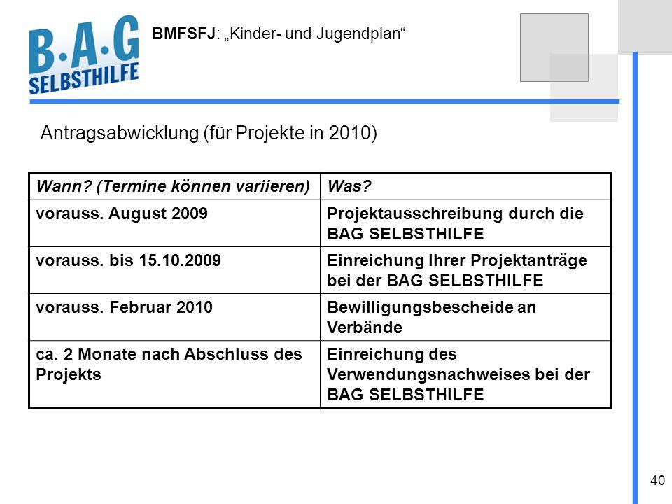 40 BMFSFJ: Kinder- und Jugendplan Antragsabwicklung (für Projekte in 2010) Wann? (Termine können variieren)Was? vorauss. August 2009Projektausschreibu