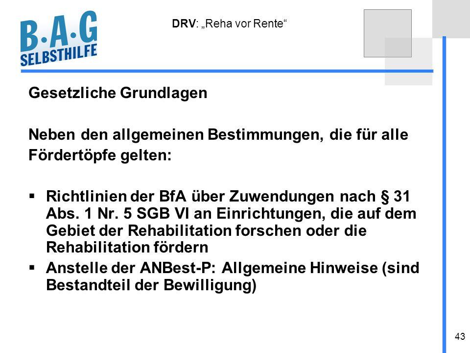 43 DRV: Reha vor Rente Gesetzliche Grundlagen Neben den allgemeinen Bestimmungen, die für alle Fördertöpfe gelten: Richtlinien der BfA über Zuwendunge