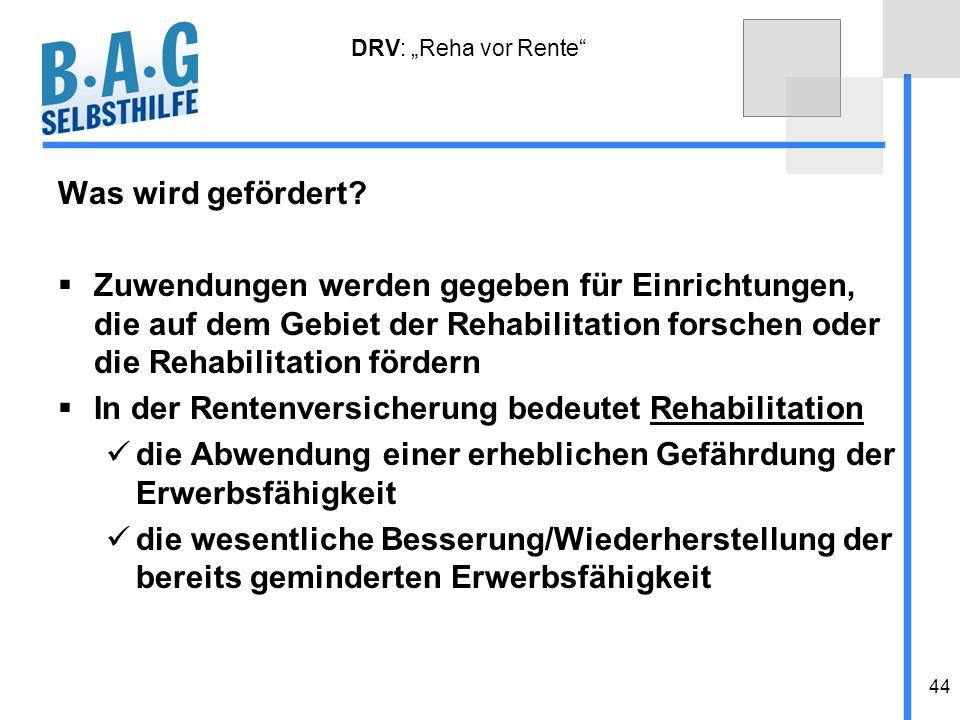 44 DRV: Reha vor Rente Was wird gefördert? Zuwendungen werden gegeben für Einrichtungen, die auf dem Gebiet der Rehabilitation forschen oder die Rehab