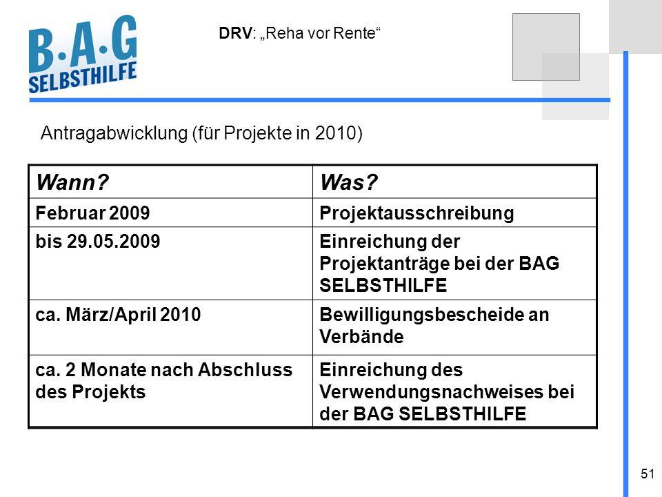 51 Wann?Was? Februar 2009Projektausschreibung bis 29.05.2009Einreichung der Projektanträge bei der BAG SELBSTHILFE ca. März/April 2010Bewilligungsbesc