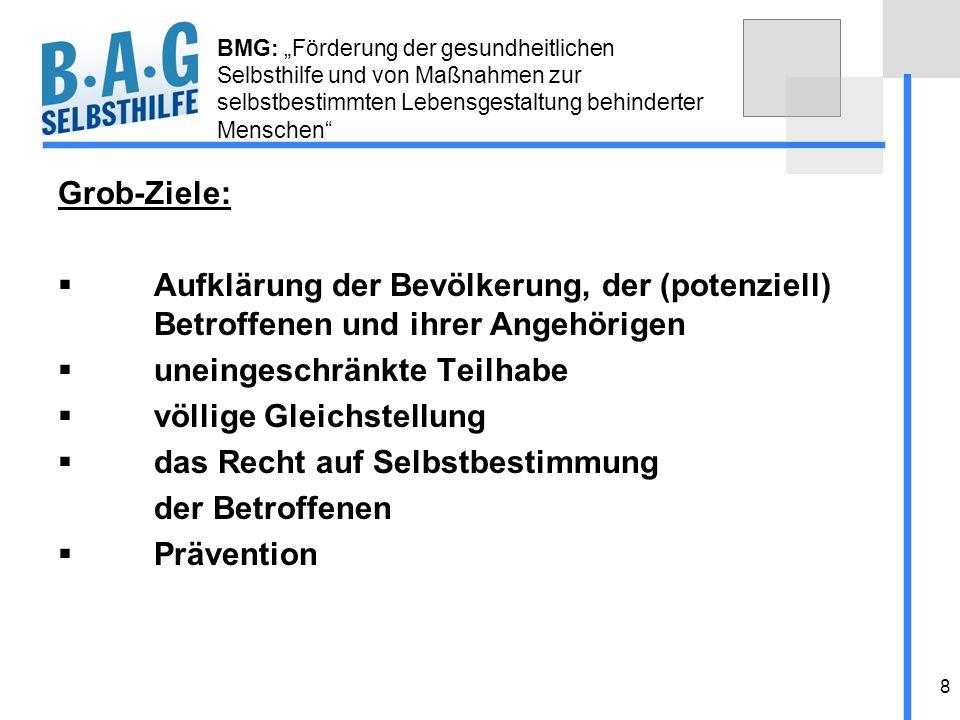 8 BMG: Förderung der gesundheitlichen Selbsthilfe und von Maßnahmen zur selbstbestimmten Lebensgestaltung behinderter Menschen Grob-Ziele: Aufklärung