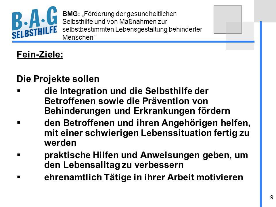 9 BMG: Förderung der gesundheitlichen Selbsthilfe und von Maßnahmen zur selbstbestimmten Lebensgestaltung behinderter Menschen Fein-Ziele: Die Projekt
