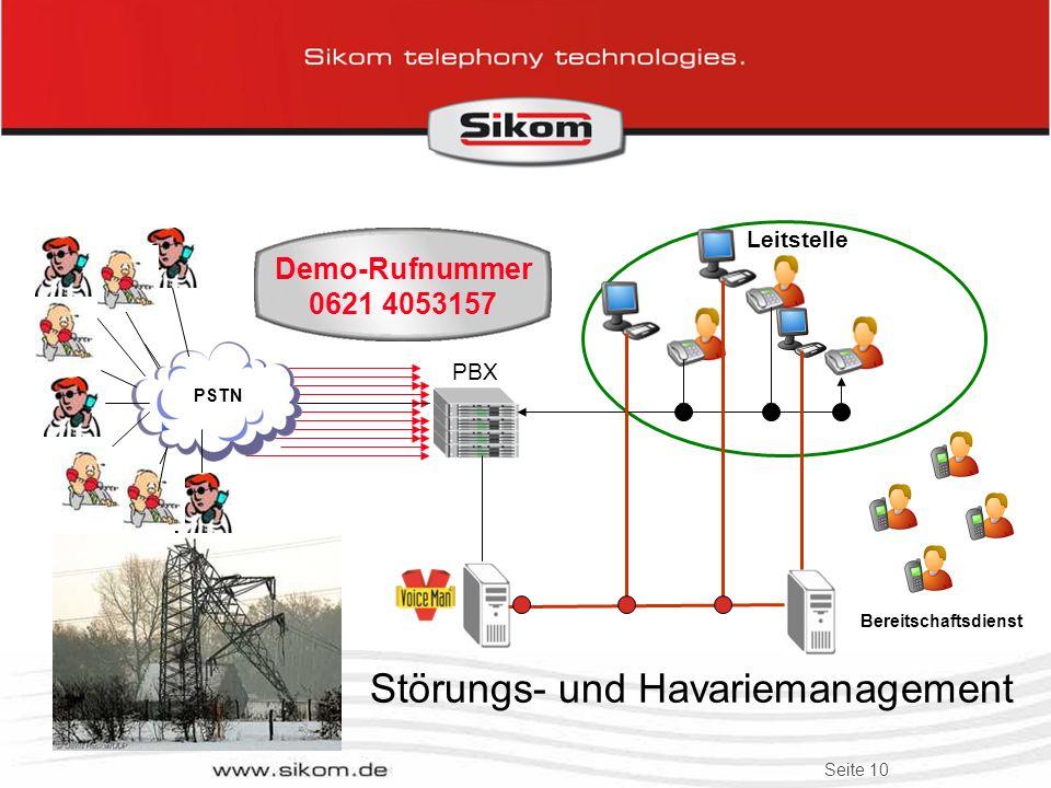 Seite 9 Zu groß? Zu teuer? Zu komplex? Kleine Lösung: Stadtwerke Jena-Pößneck VoiceMan mit 4xS0 an Siemens-TK-Netz. Havarieansagen für IT- Helpdesk Ze