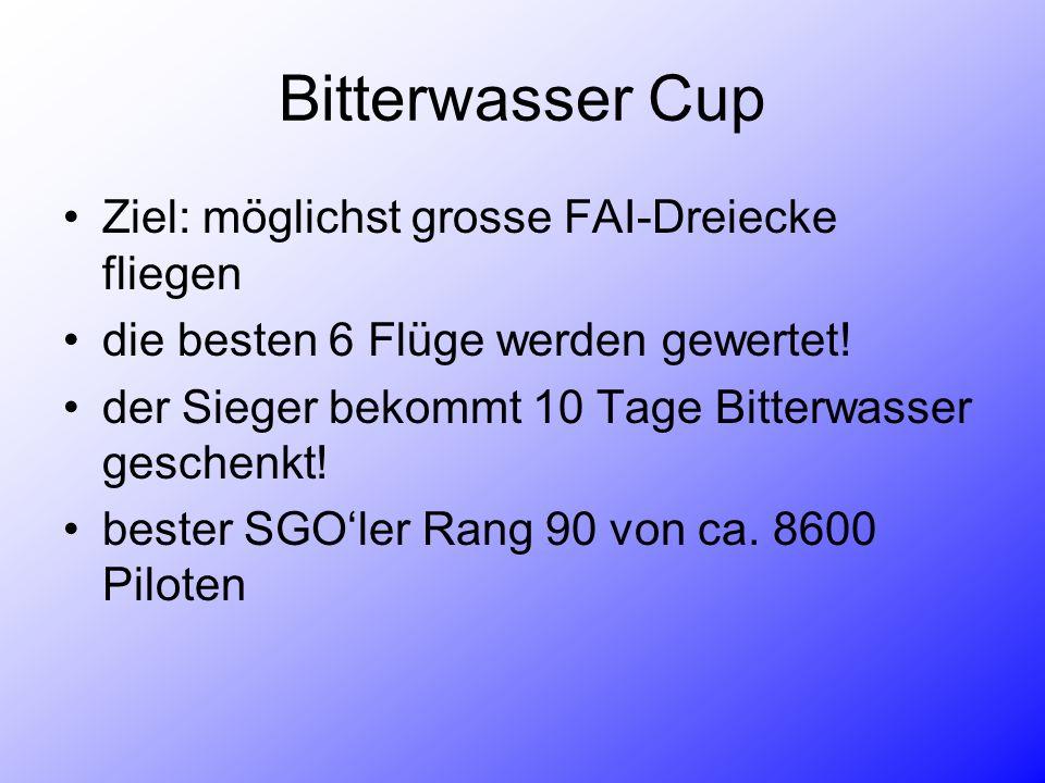 Bitterwasser Cup Ziel: möglichst grosse FAI-Dreiecke fliegen die besten 6 Flüge werden gewertet! der Sieger bekommt 10 Tage Bitterwasser geschenkt! be