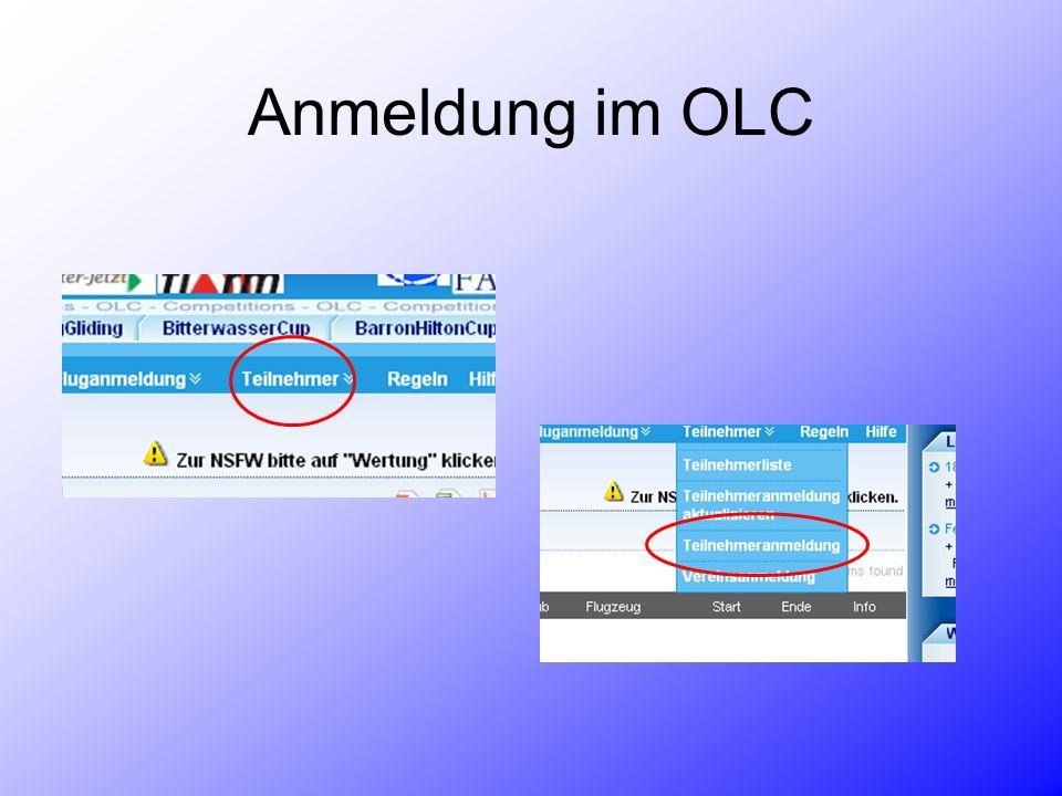 Anmeldung im OLC