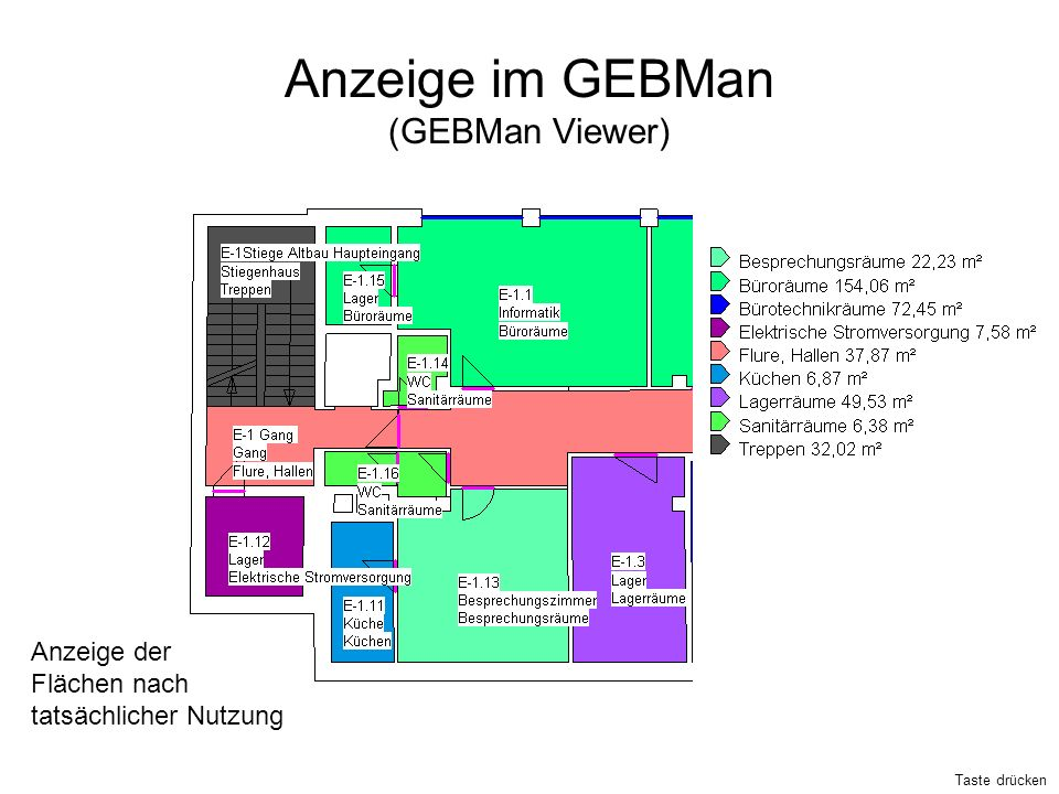 Anzeige im GEBMan (GEBMan Viewer) Anzeige der Flächen nach tatsächlicher Nutzung Taste drücken
