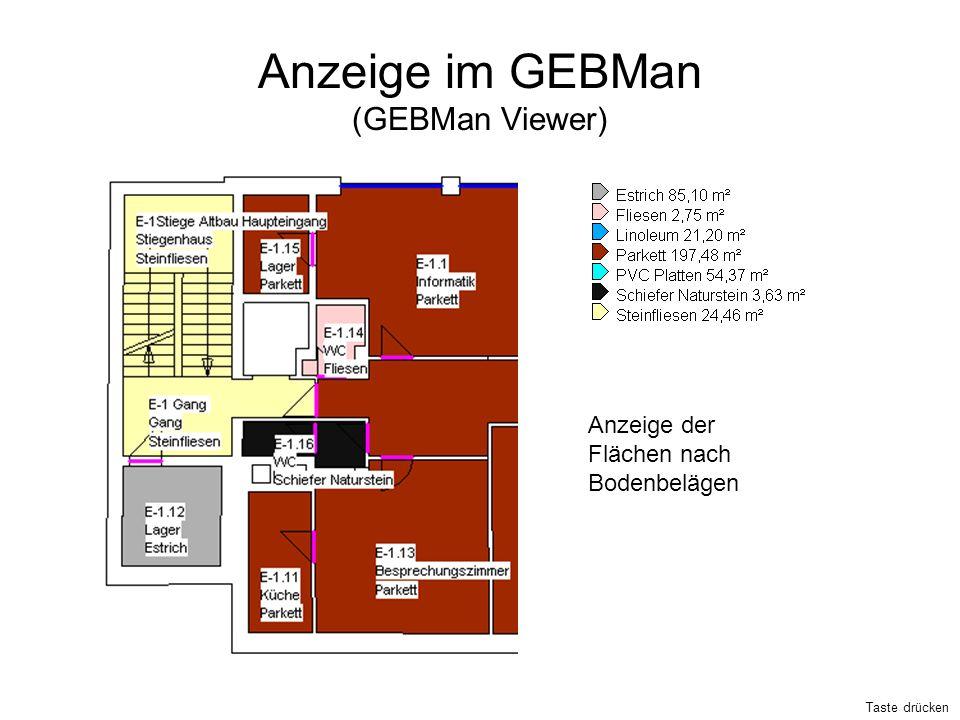 Anzeige im GEBMan (GEBMan Viewer) Anzeige der Flächen nach Bodenbelägen Taste drücken
