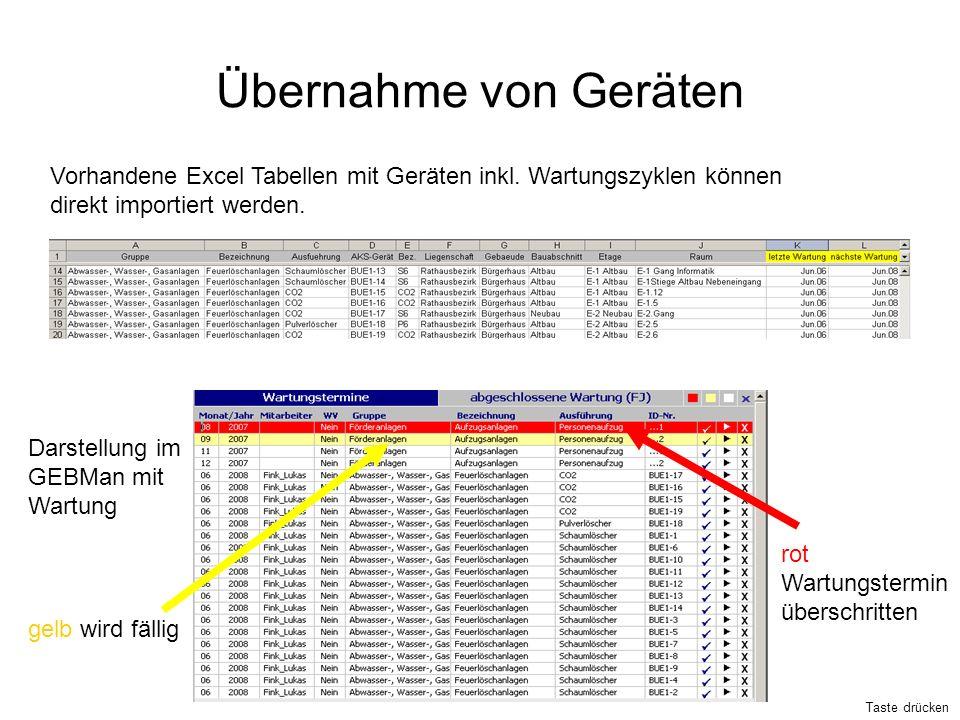 Übernahme von Geräten Vorhandene Excel Tabellen mit Geräten inkl. Wartungszyklen können direkt importiert werden. Darstellung im GEBMan mit Wartung ge