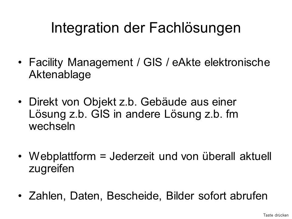 Integration der Fachlösungen Facility Management / GIS / eAkte elektronische Aktenablage Direkt von Objekt z.b. Gebäude aus einer Lösung z.b. GIS in a
