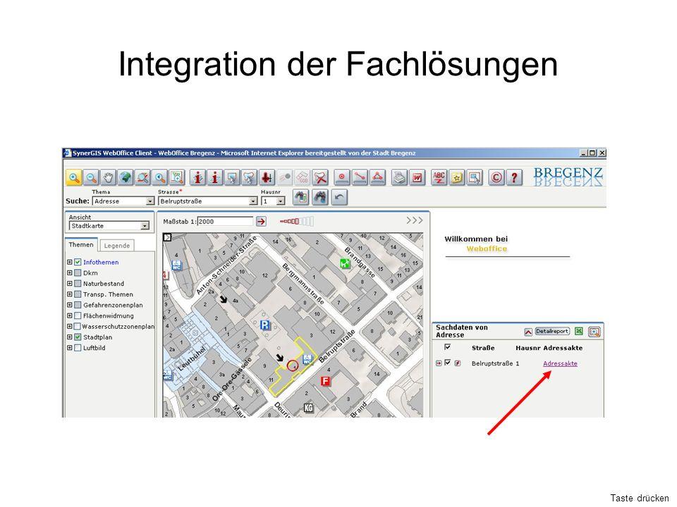 Integration der Fachlösungen Taste drücken