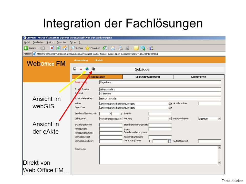 Integration der Fachlösungen Ansicht im webGIS Ansicht in der eAkte Direkt von Web Office FM… Taste drücken