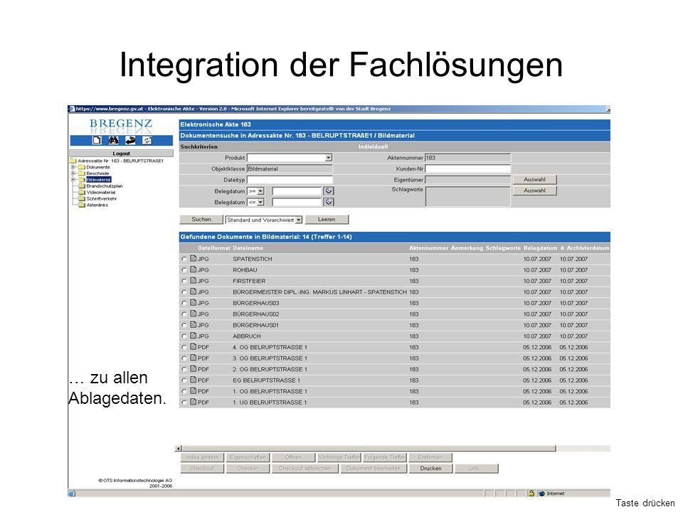 Integration der Fachlösungen … zu allen Ablagedaten. Taste drücken