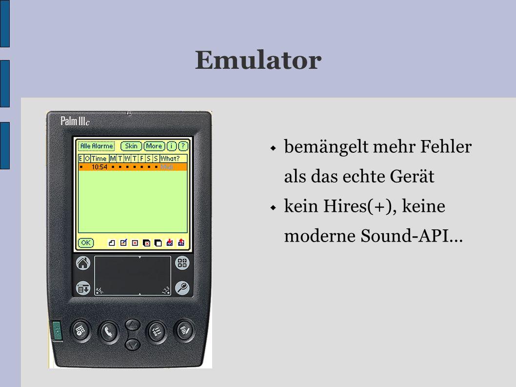 Emulator bemängelt mehr Fehler als das echte Gerät kein Hires(+), keine moderne Sound-API...