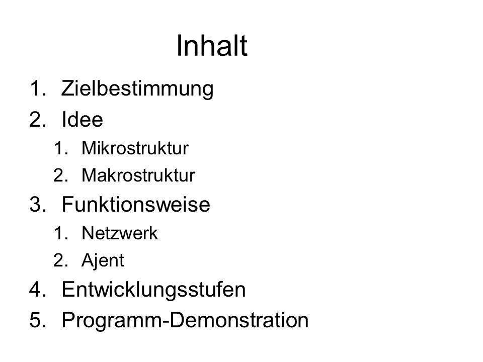 Inhalt 1.Zielbestimmung 2.Idee 1.Mikrostruktur 2.Makrostruktur 3.Funktionsweise 1.Netzwerk 2.Ajent 4.Entwicklungsstufen 5.Programm-Demonstration