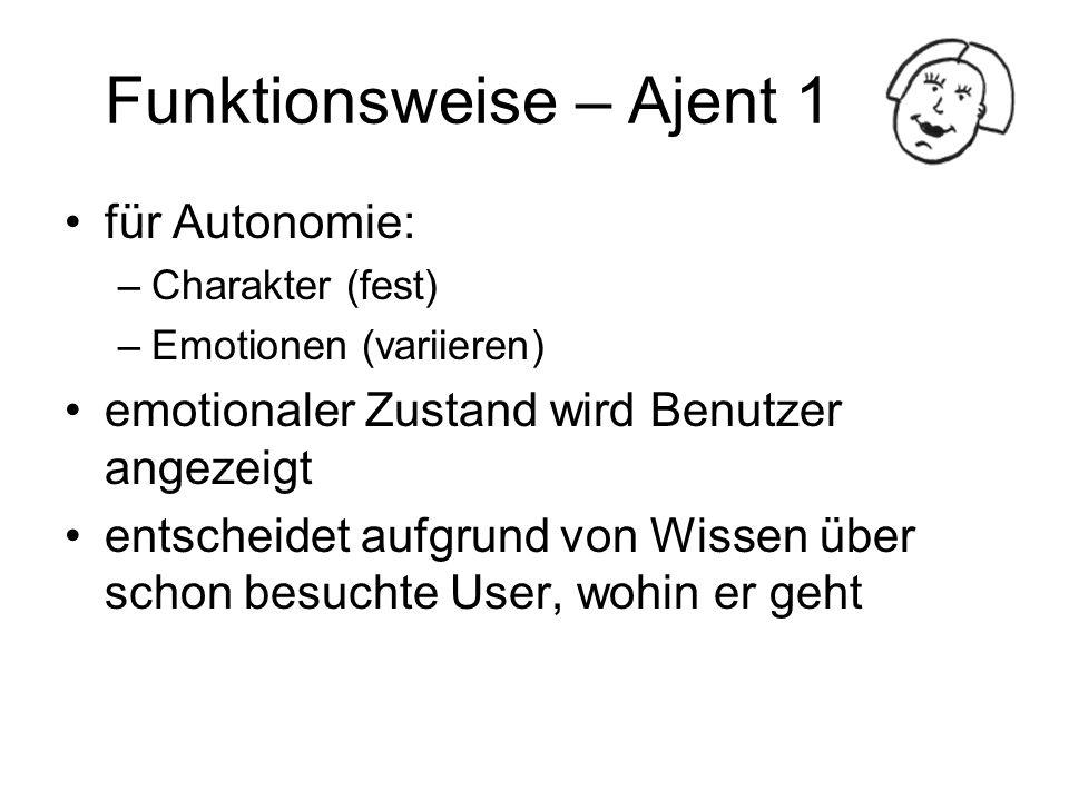 Funktionsweise – Ajent 1 für Autonomie: –Charakter (fest) –Emotionen (variieren) emotionaler Zustand wird Benutzer angezeigt entscheidet aufgrund von
