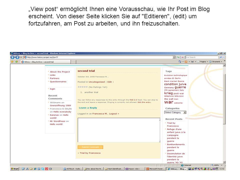 View post ermöglicht Ihnen eine Vorausschau, wie Ihr Post im Blog erscheint.