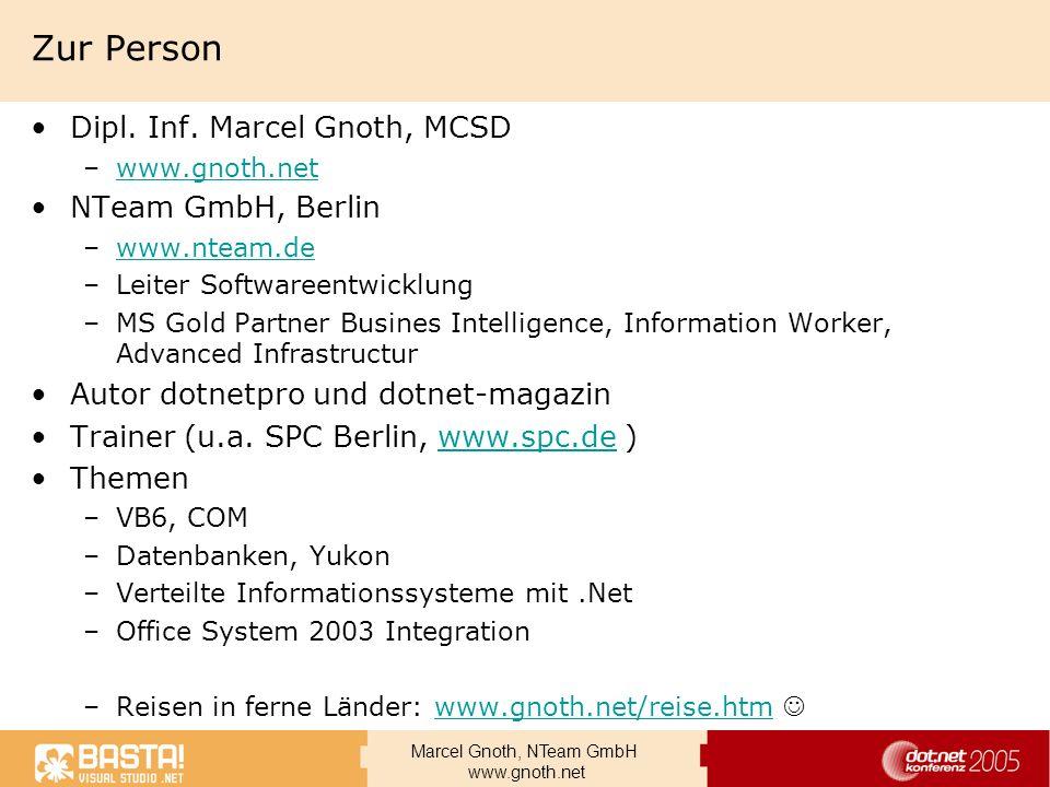 Marcel Gnoth, NTeam GmbH www.gnoth.net Trigger Objekte Trigger – kann mehrere Rules enthalten Condition –Eigenschaften der Nachricht werden beim Eintreffen geprüft –Mehrere Kombinationen möglich Action –Eine Exe oder eine COM-Komponente –Parameterübergabe kann definiert werden Rule –Paar von Condition und Action