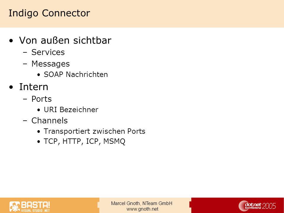 Marcel Gnoth, NTeam GmbH www.gnoth.net Indigo Connector Von außen sichtbar –Services –Messages SOAP Nachrichten Intern –Ports URI Bezeichner –Channels