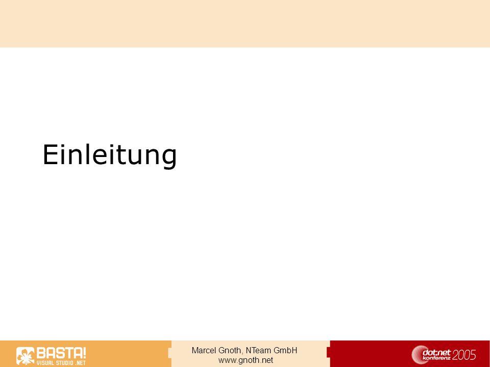 Marcel Gnoth, NTeam GmbH www.gnoth.net Verbesserte Features in MSMQ 3.0 AD Integration –Konfiguration im AD –Clients verwenden LDAP MMC Support Workgroup Mode Support Cluster Support CE Support MSMQ Nachrichtenspeicher jetzt (theoretisch) 1TB Schnellerer Neustart, auch wenn große persistente Nachrichten vorliegen