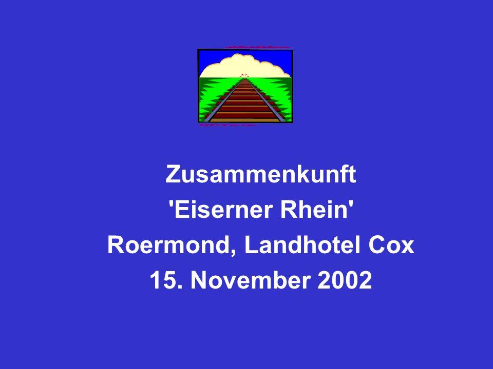 Sachstand an der Niederländischen Seite Zusammenkunft Eiserner Rhein Roermond, Landhotel Cox 15.