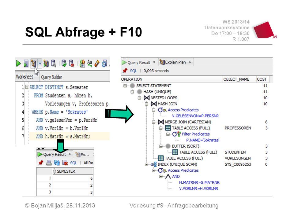WS 2013/14 Datenbanksysteme Do 17:00 – 18:30 R 1.007 © Bojan Milijaš, 28.11.2013 Anfragebearbeitung Wegen Datentunabhängigkeit werden Anfragen in SQL auf sehr allgemein auf dem logischen Schema formuliert Nun muss es eine Komponente in DBMS geben, die die Grenze zwischen der logischen und der physischen Ebene definiert und überbrückt Anfrageoptimierung Anfrageoptimierung wandelt eine abstrakte Abfrage in eine möglichst effiziente Implementierung – den Auswertungsplan – der dann kompiliert oder über einen Interpreter direkt gestartet wird...