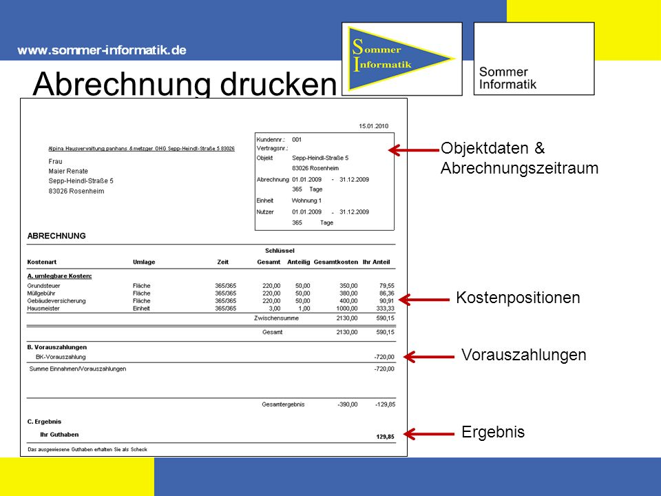 Abrechnung drucken Objektdaten & Abrechnungszeitraum Kostenpositionen Vorauszahlungen Ergebnis