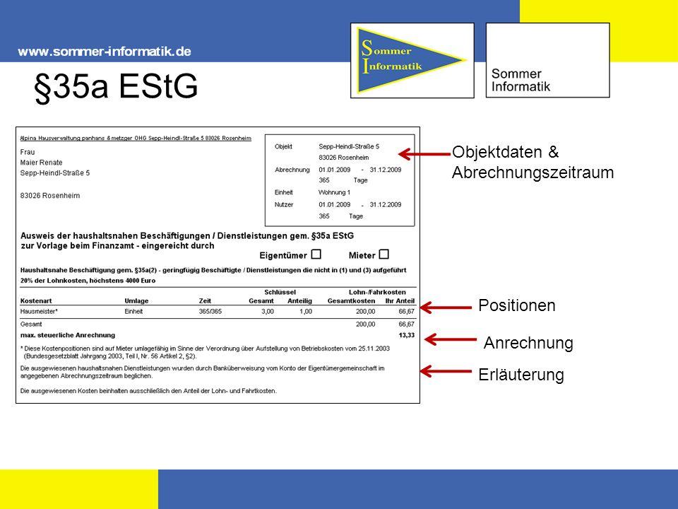 §35a EStG Objektdaten & Abrechnungszeitraum Positionen Anrechnung Erläuterung