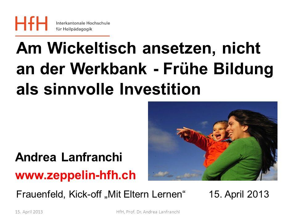 15. April 2013HfH, Prof. Dr. Andrea Lanfranchi Unser Projektpartner Gefördert vom 2