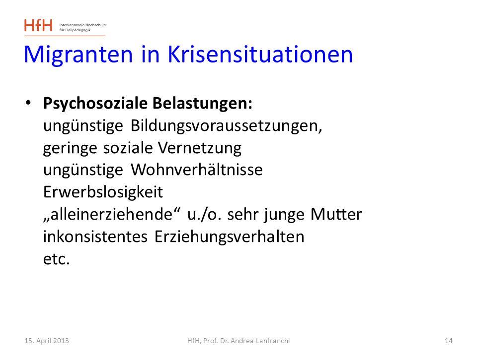 15. April 2013HfH, Prof. Dr. Andrea Lanfranchi Migranten in Krisensituationen Psychosoziale Belastungen: ungünstige Bildungsvoraussetzungen, geringe s