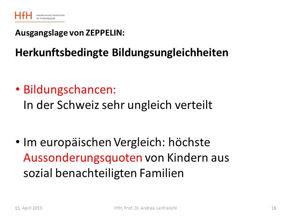 15. April 2013HfH, Prof. Dr. Andrea Lanfranchi Ausgangslage von ZEPPELIN: Herkunftsbedingte Bildungsungleichheiten Bildungschancen: In der Schweiz seh