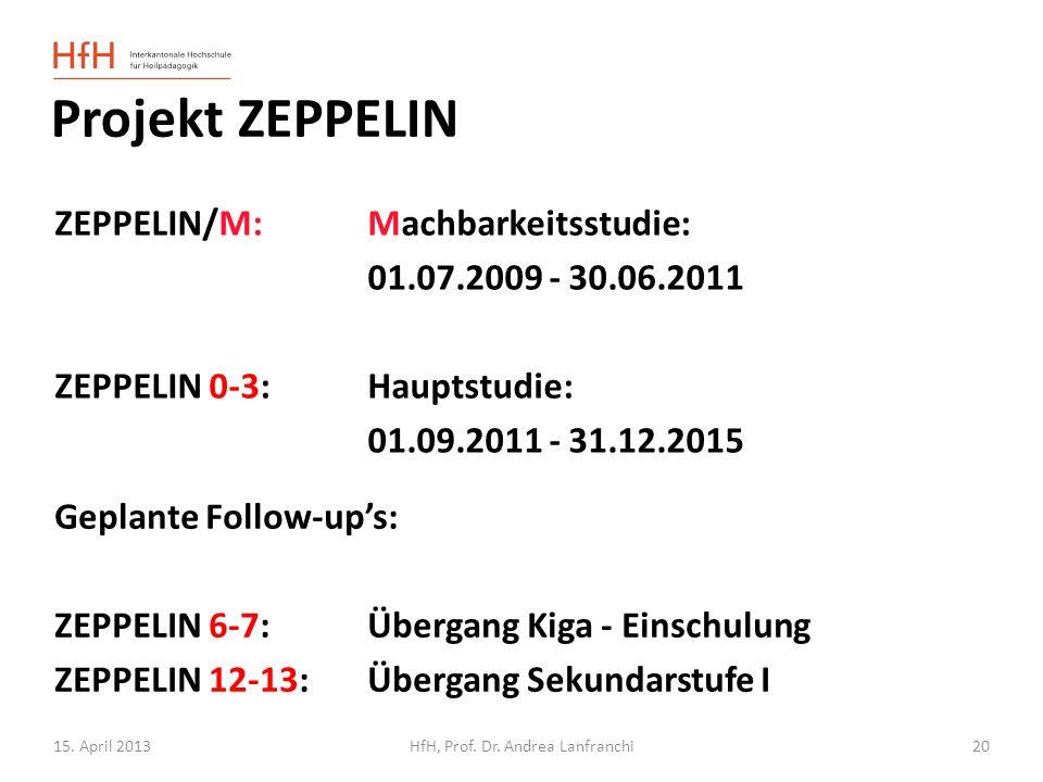 15. April 2013HfH, Prof. Dr. Andrea Lanfranchi Projekt ZEPPELIN ZEPPELIN/M:Machbarkeitsstudie: 01.07.2009 - 30.06.2011 ZEPPELIN 0-3:Hauptstudie: 01.09