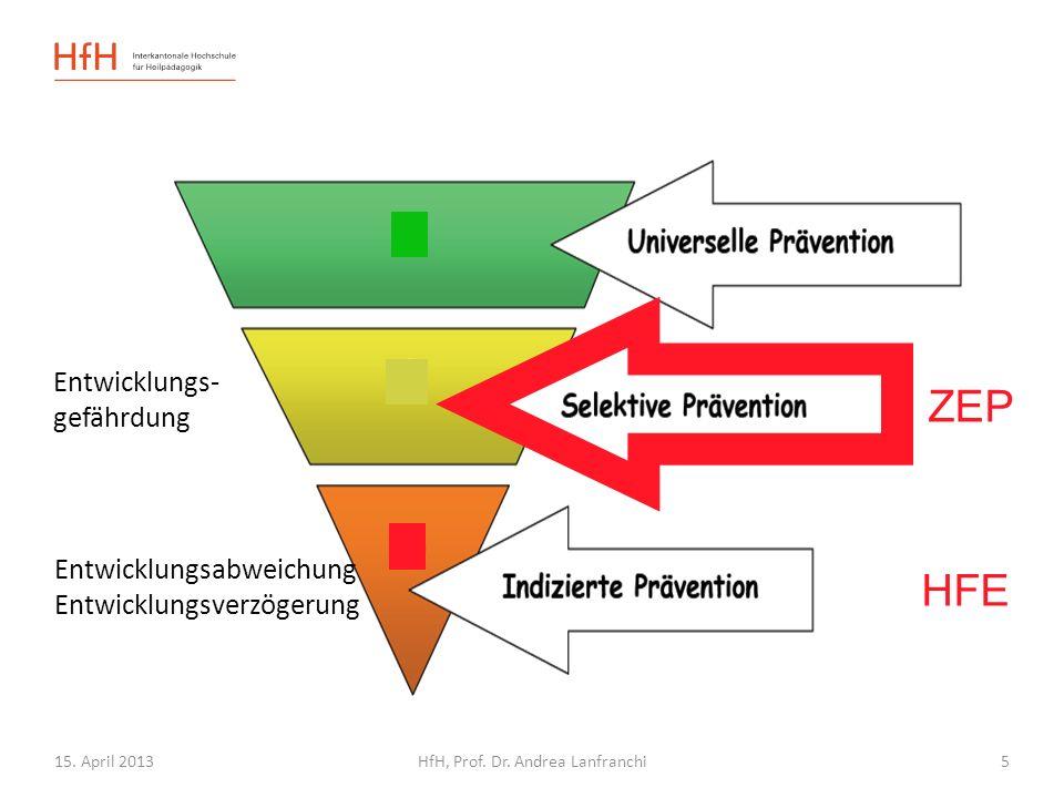 15. April 2013HfH, Prof. Dr. Andrea Lanfranchi HFE Entwicklungsabweichung Entwicklungsverzögerung Entwicklungs- gefährdung ZEP 5